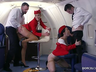 Alexis Lorgnon and Misha Cross are VIP stewardesses who were hired to swing everything to please dudes